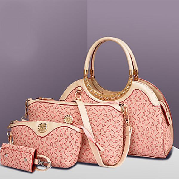 Women PU Hobo Shoulder Bag / Tote / Clutch - White / Pink / Blue / Brown